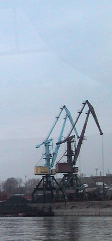 Kran am Hafen von Novosibirsk